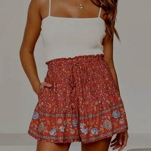 Floral Print Elastic Waist Shorts Red Summer